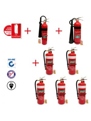 pack of 2 x 3.5kg CO2 + 1 x 5kg CO2 & 7 x 4.5kg DCP fire extinguishers