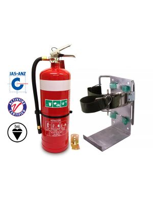 4.5kg DCp extinguisher with heavy duty black powder coated vehicle bracket