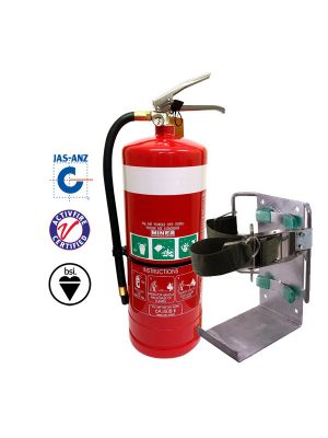 9kg DCP ABE Vehicle Extinguisher w Red Powder Coated Bracket