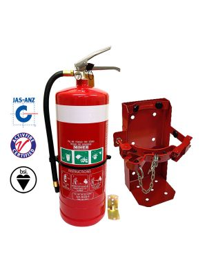9kg DCP ABE Vehicle Extinguisher w Black Powder Coated Bracket