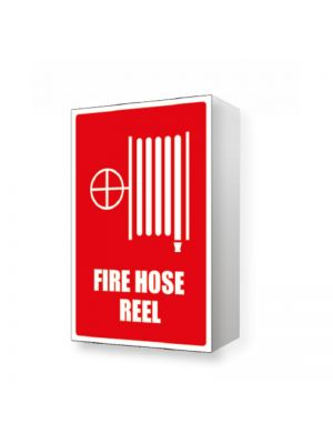 ANGLED FIRE HOSE REEL LOCATION SIGN - 150MM X 225MM