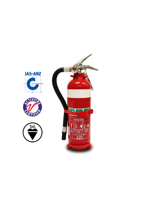 1.5KG ABE FIRE EXTINGUISHER C/W HOSE & VEHICLE BRACKET