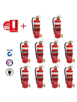 PACK OF 10 X 4.5KG DCP FIRE EXTINGUISHERS C/W HOSE & STANDARD WALL BRACKETS & SIGNS