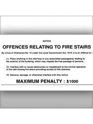 OFFENCE RELATED TO FIRE STAIRS SIGN -